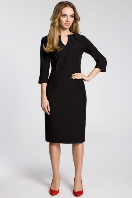 Modli Three Quarter Sleeve Black Modest Midi Pencil Dress