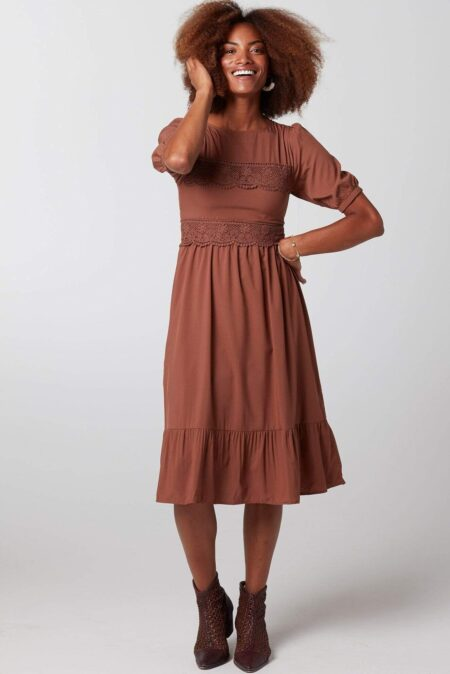 Rust Modest Downest Dress Lace Detail