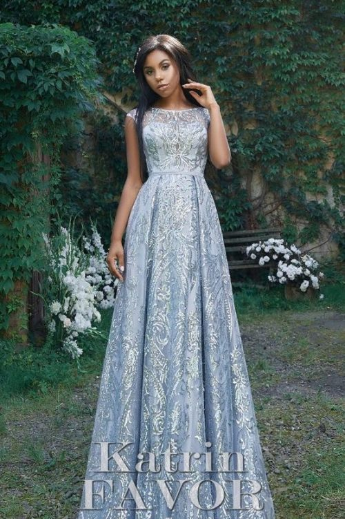 Silver Metallic Lace Modest Prom Dress