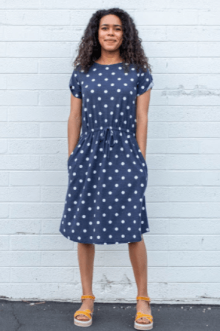 Twirl Dresses Blue White Modest Midi Polka Dot Dress