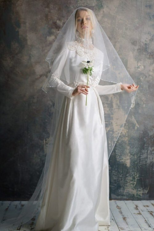 White Tznius Wedding Dress Veil Embroidered Collar