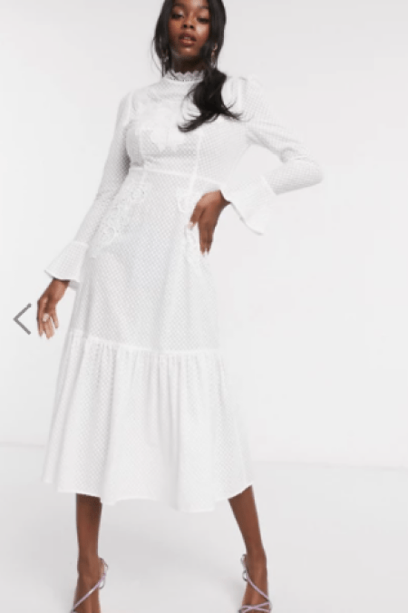Asos Embroidered Victorian Collar Fluted Sleeve White Midi Modest Dress