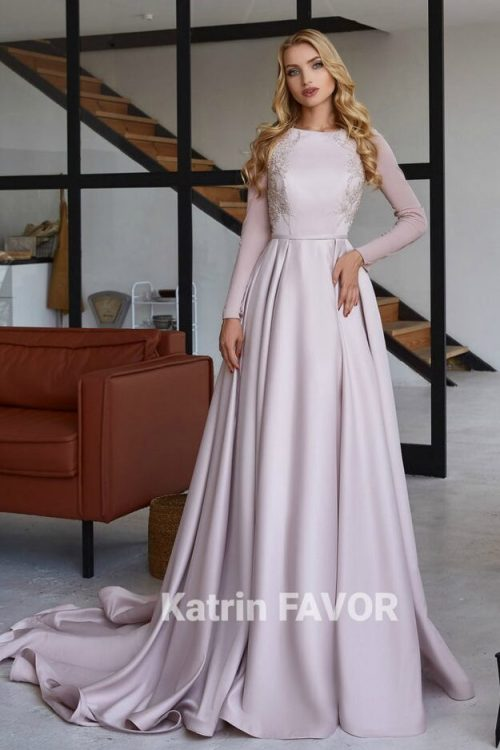 Light Pink Satin Beaded Tznius Modest Formal Dress Long Sleeves