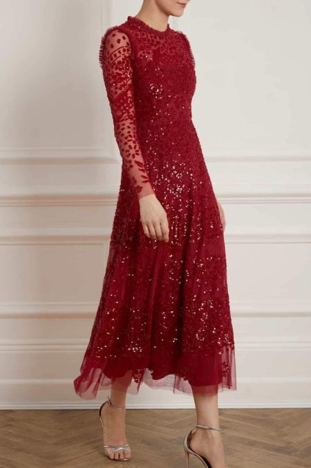 Needle and Thread Red Beaded Maxi Dress
