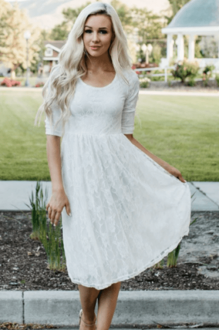 Neesee's Dresses Modest White Lace Midi Dress Scoop Neck