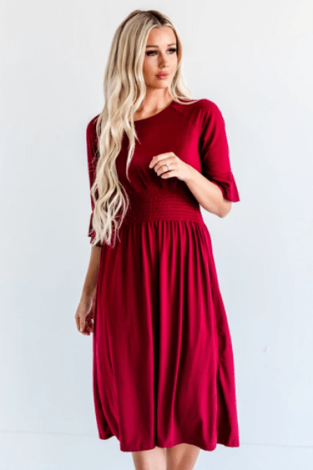Sign Here Signature Clothing Modest Cranberry Red Dress Smocking Detail
