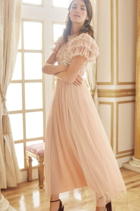 Needle Thread Blush Pink Floral Tulle Modest Formal Bridesmaids Dress