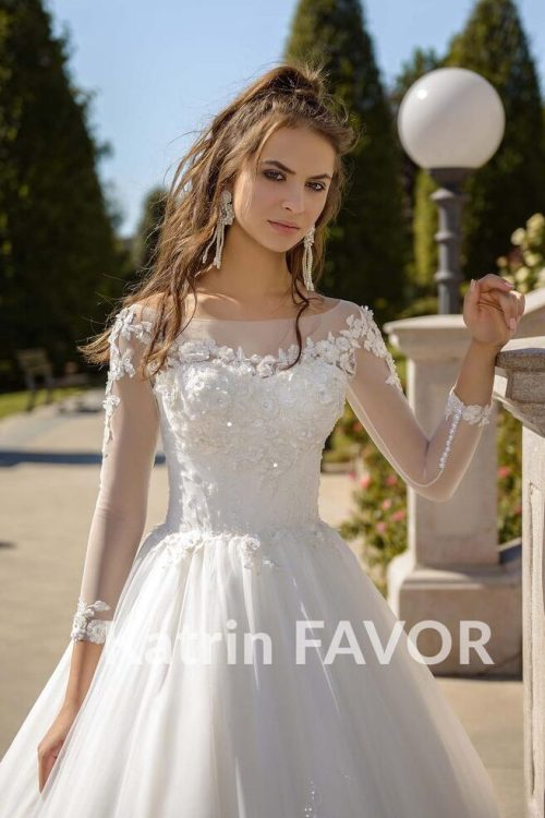 Beaded Lace Tulle Ivory Modest Wedding Dress Long Sleeves Train Close Up