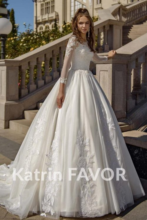 Beaded Lace Tulle Ivory Modest Wedding Dress Long Sleeves Train