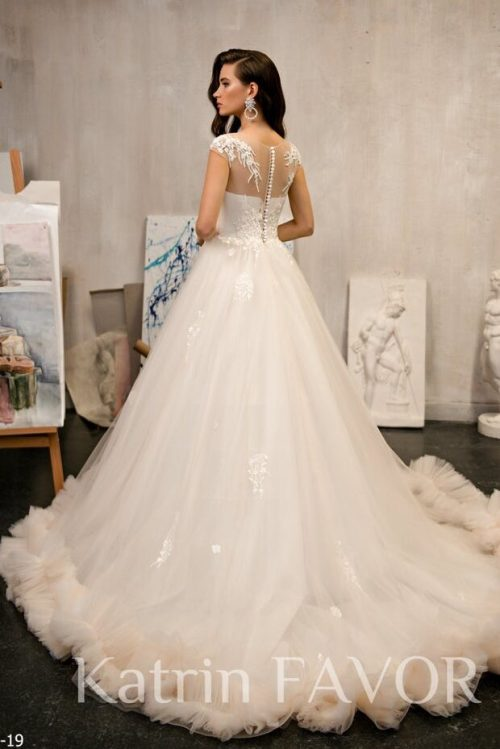 Champagne Illusion Neck Lace Tulle Modest Wedding Dress Back View