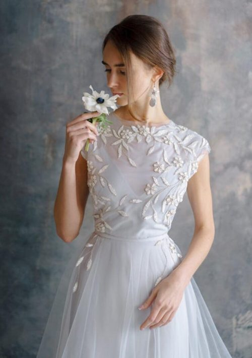 Dusty Blue Modest Wedding Dress Cap Sleeves Embroidery Close Up Bodice