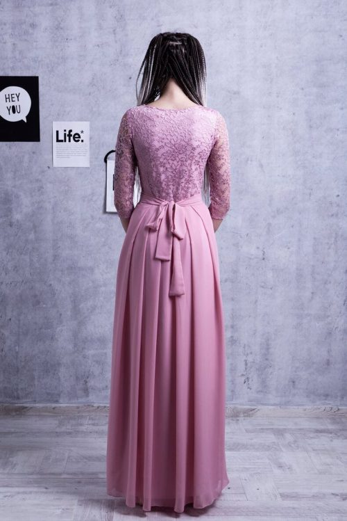 Dusty Rose Lace Chiffon Long Sleeve Modest Formal Back View