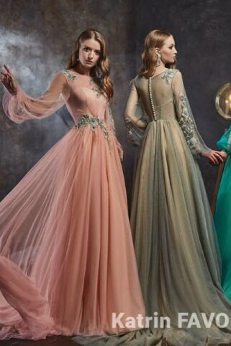 Gray Turquoise Bishops Sleeves Tulle Modest Prom Dress