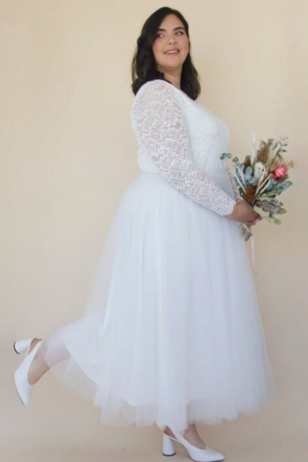 Ivory Boat Neck Tulle & Lace Midi Modest Wedding Dress Side View