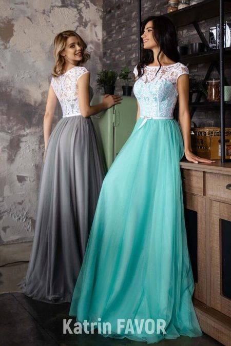 Ivory Lace Bodice Cap Sleeves Gray Turquoise Tulle Skirt Modest Prom Dress
