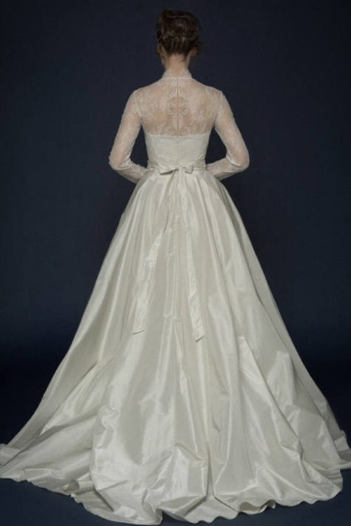Ivory Silk French Lace Modest Wedding Dress Long Sleeves High Neckline Back View