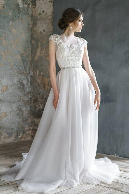 Tulle Embroidery Lace Romantic Cap Sleeve A Line Skirt Modest Wedding Dress