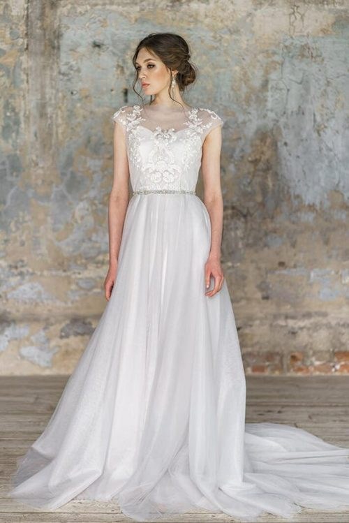 Tulle Embroidery Lace Romantic Cap Sleeve Modest Wedding Dress