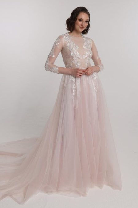 Blush Lace Tulle Sequins Tznius Modest Wedding Dress Long Sleeves Front View