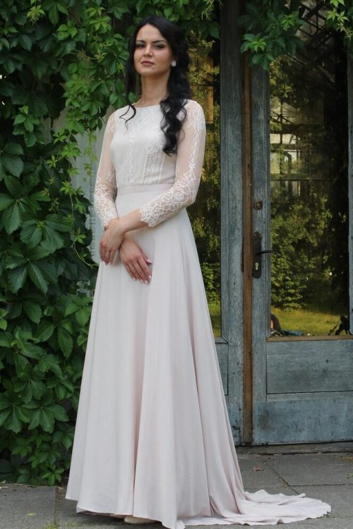 Ivory Sand Lace Silk Tznius Modest Wedding Dress Long Sleeves Front View