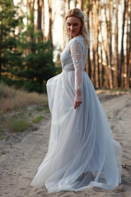 Dusty Blue Sequins Beading Modest Wedding Dress Long Sleeves Side Detail