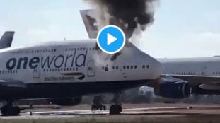 VIDÉO – Images spectaculaires d'un Boeing 747 de British Airways en feu