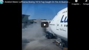 VIDÉO. Le remorqueur d'un avion de Lufthansa prend feu