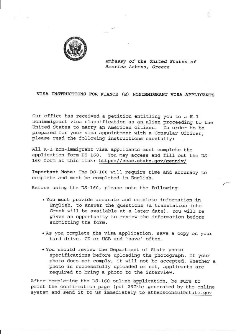 K1 visa instructions