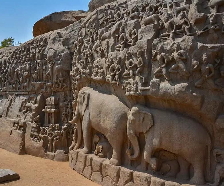 arjunas penance in mamallapuram india