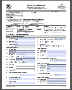 here's a I-129F sample form completed for the fiance visa petition