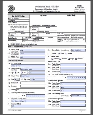 i129f form I-129F Sample Form (Petition for Alien Fiance) « Visa Tutor