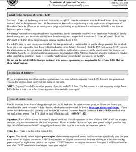 form I-134 instructions Affidavit of Support of the Fiance visa
