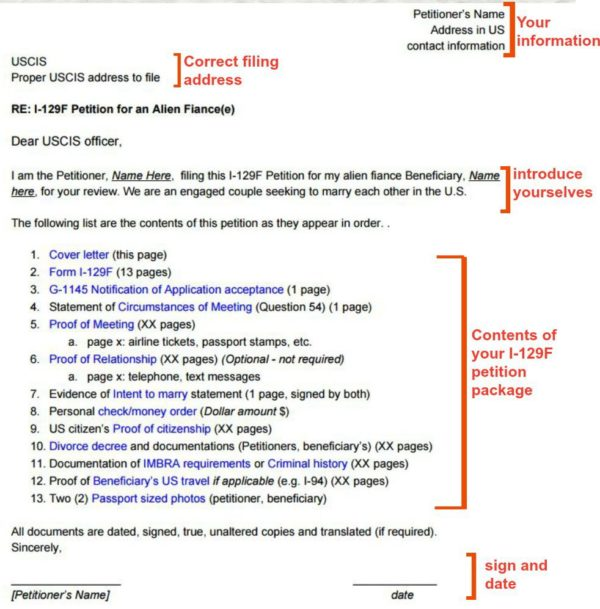 I-129F Cover Letter Sample (K-1 Visa) « Visa Tutor