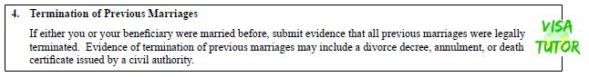 I-129F instructions of passport previous marriages. If you don't submit all forms, you will get an RFE