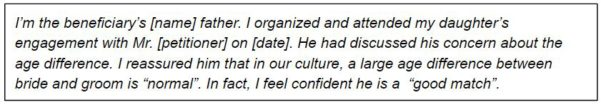 Example of a statement from a witness dispelling Red flags about the Fiance visa couple.
