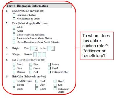 Form I-129F part 4 supposedly asks about the US petitioner's biographic details