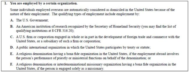 certain organizations are automatically domiciled in the US. you can attach these proofs in your I-134