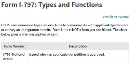 The I-797 is the approval letter from the USCIS when they've completed processing