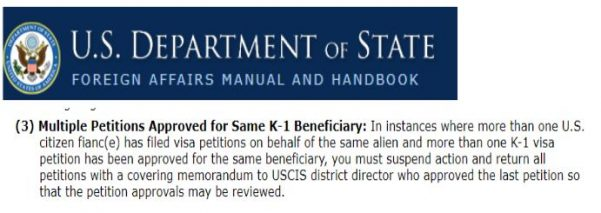 The US Embassy may see your multiple K-1 visa as a red flag. The USCIS may have to suspend action on your I-129F