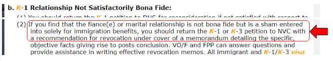 Foreign Affairs Manual: 9 FAM 502.7-3(C)(5)(b) What to do if they suspect fraud in a fiance visa relationship