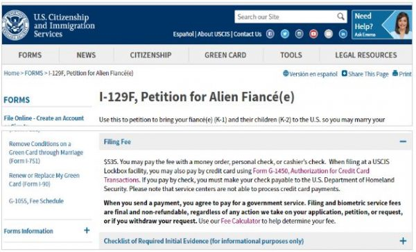 Here is the I-129F fee from the USCIS website