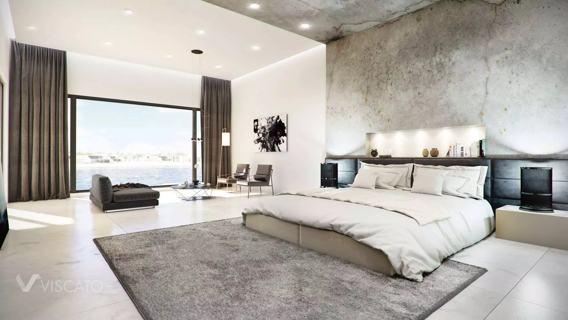 CONCRETE FINISHED MODERN BEDROOM  Viscato