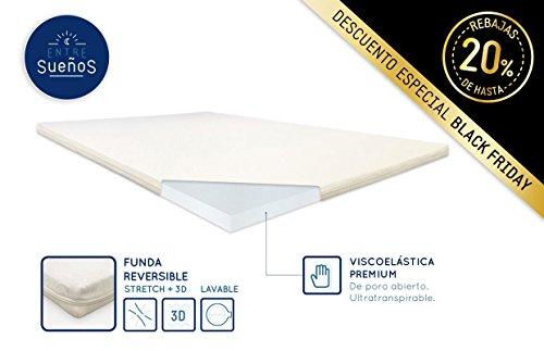 Top Colchoncillo Topper Visco Viscoelástico de 5 cm | Densidad 55kg/m3 | Con funda | Viscoelástica |80 x 190 x 5 cm |