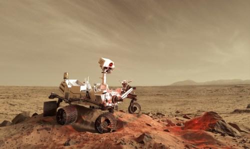 le robot Curiosity explorant Mars, ici recréé en images de synthèse et pourtant magnifique à regarder sur le dôme de la Géode.