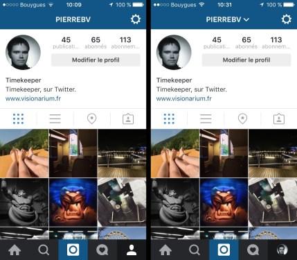 Nouvelle (à droite) page de profil Instagram.
