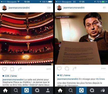 Timeline d'Instagram, avant et après l'activation du multicomptes. On remarquera que si vous avez des abonnements de merde, ça n'en modifie pas la teneur.
