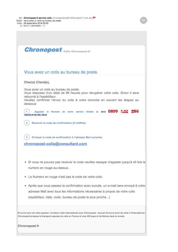 E-mail faussement attribué à Chronopost.