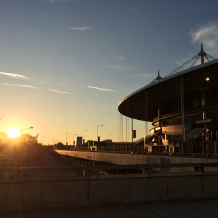 Coucher de soleil sur le Stade de France