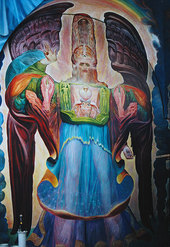 WORKING WITH ERNST FUCHS IN THE APOCALYPSE CHAPEL AT KLAGENFURT by Laurence Caruana