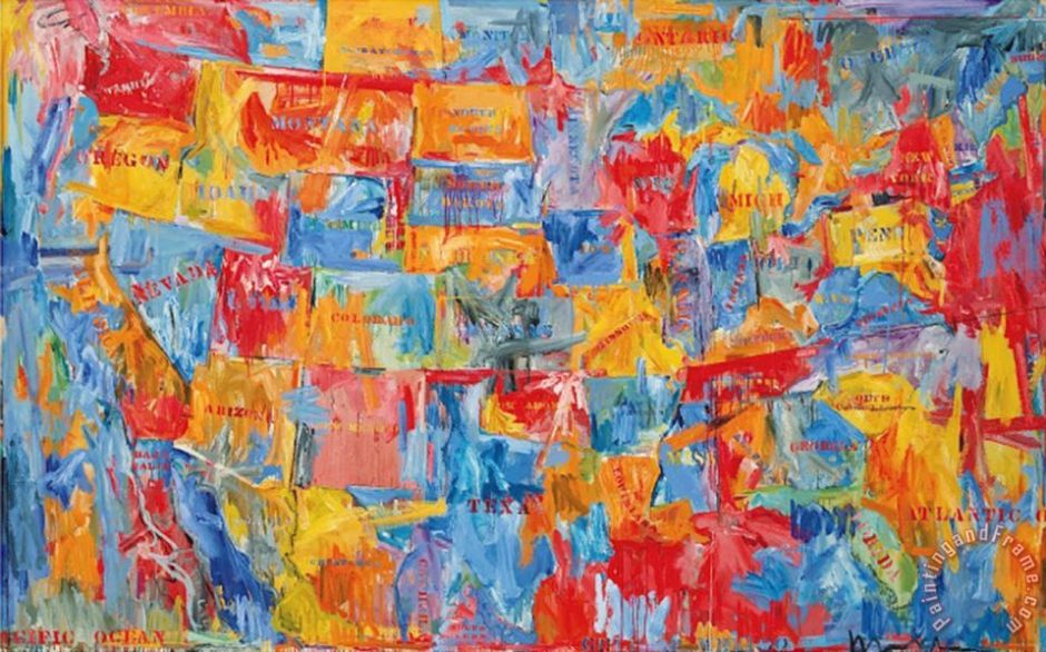 Map Painting by jasper johns; Map Art Print for sale